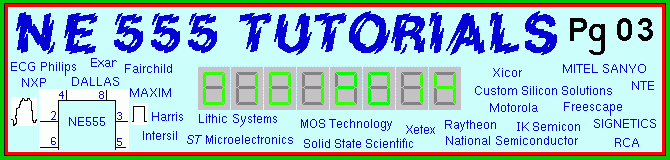 The NE-555 Tutorials and free circuits Page Banner